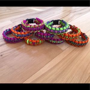 Handmade lot of nine colorful paracord bracelets